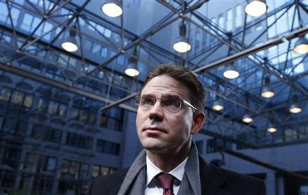 Finland's PM Katainen arrives at a EU leaders summit in Brussels