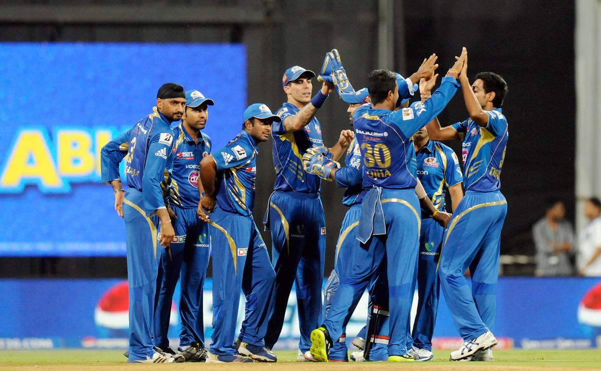 Dhawal Kulkarni of Mumbai Indians celebrates the wicket of Tillakaratne Dilshan of Royal Challengers Bangalore during match 37 of the Pepsi Indian Premier League ( IPL) 2013  between The Mumbai Indians and the Royal Challengers Bangalore held at the Wankhede Stadium in Mumbai on the 27th April 2013. (BCCI)