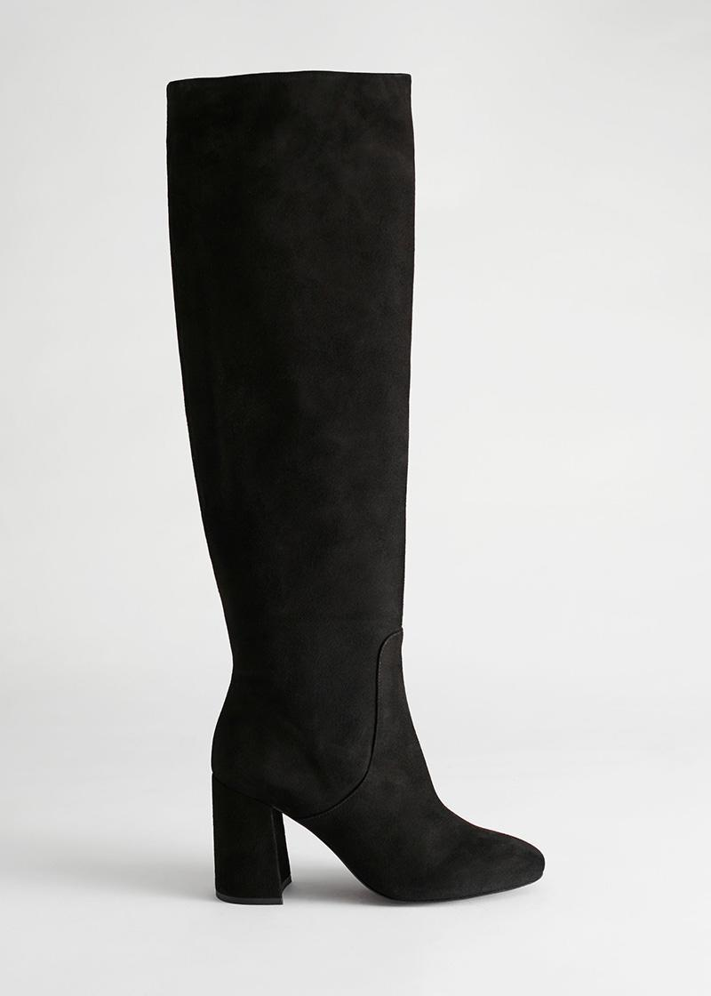 black suede boots, boots, other stories