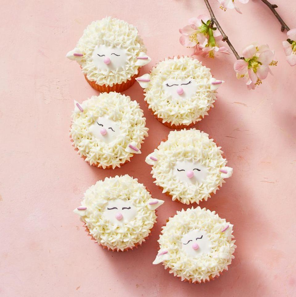 """<p>Pipe buttercream to create fur and ears on these adorable little lamb cupcakes.</p><p><em><a href=""""https://www.goodhousekeeping.com/food-recipes/dessert/a30981808/sheep-cupcake-recipe/"""" rel=""""nofollow noopener"""" target=""""_blank"""" data-ylk=""""slk:Get the recipe for Sheep Cupcakes »"""" class=""""link rapid-noclick-resp"""">Get the recipe for Sheep Cupcakes »</a></em></p>"""
