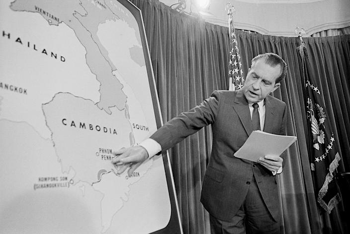 In a TV speech to the nation from the White House on April 30, 1970, President Nixon announced that several thousand American ground troops have entered Cambodia to wipe out Communist headquarters for all military operations against South Vietnam. (Photo: Bettmann Archives via Getty Images)