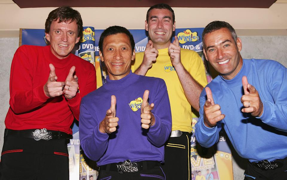 The Wiggles pose for a photograph before performing at the Sydney Entertainment Centre on March 10, 2005 in Sydney, Australia.