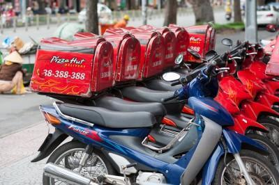 street, delivery, nobody, perspective, row, motorcycles, red, day, sign, line, hcmc, parking, letter, hochiminh, editorial, hut, box, lot, pizza, trademark, saigon, english,