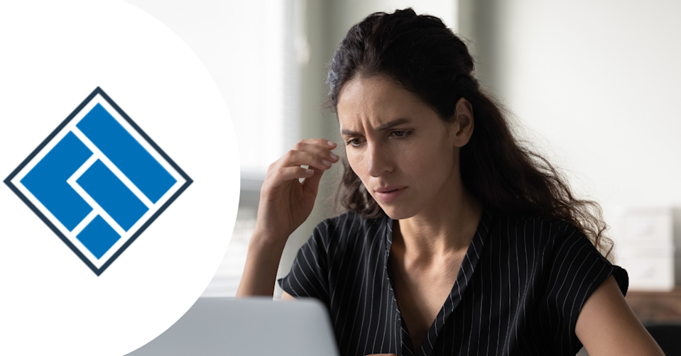 ASIC logo and woman looking concerned at computer screen.