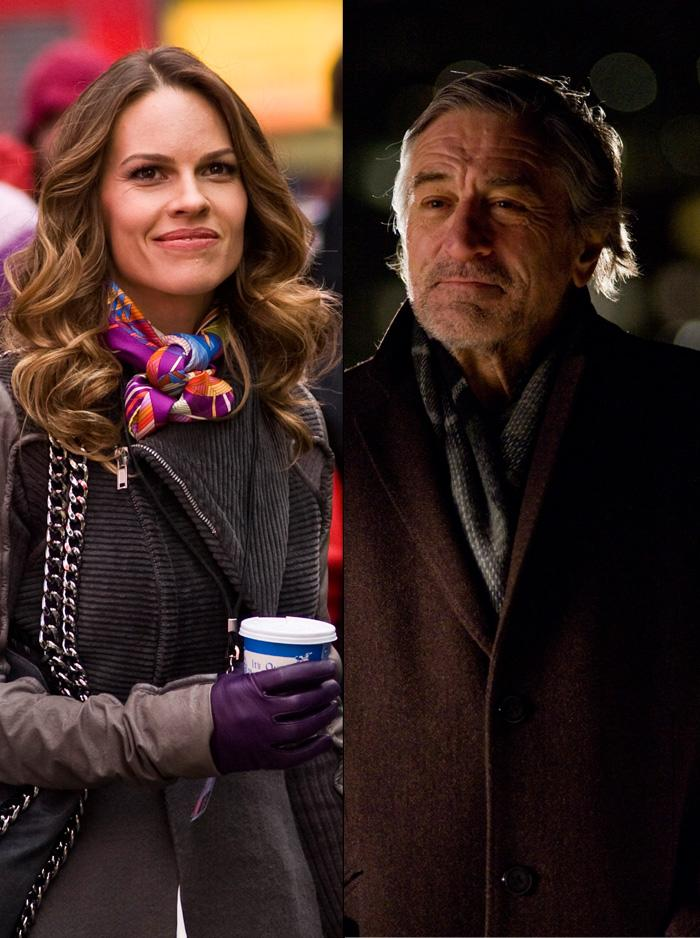 """One of Hilary Swank's lifelong ambitions was to work with Robert De Niro. In """"New Year's Eve,' she got to do just that playing a television producer whose father (De Niro) is dying man. Just before their first scene together, Swank sees the famed method actor lying motionless in a hospital bed.   """"I'm thinking, 'Wow, he's giving it to me. Like we're connected here. We are connected. Me and De Niro - method,'"""" she said during a recent <a href=""""http://www.hollywood.com/news/Josh_Duhamel_Turned_Lisa_Simpson_On_and_Other_Highlights_From_the_New_Years_Eve_Press_Day/10400804"""">press conference</a>. """"I start getting a little emotional. But the camera's not on me, but we were just getting into the mood, of the father-daughter, father dying kind of thing. I'm feeling it. I'm going deep with De Niro. The next thing I know, he's opens his eyes, 'Aaah, anyone got that coffee?' And I'm like, 'Oh, my god, he was sleeping!' I thought he was going deep for me. The truth is, he'd been in that bed all day, from like six in the morning. He took a nap!"""""""