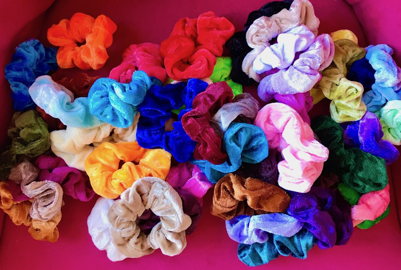 <p>The velvet-like fabric of these scrunchies is gentle on your hair, yet doesn't slip.</p>