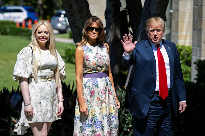 Tiffany Trump, pictured here with stepmother Melania Trump and dad Donald Trump, has inspired a blinged-out portrait. (Photo: REUTERS/Al Drago)