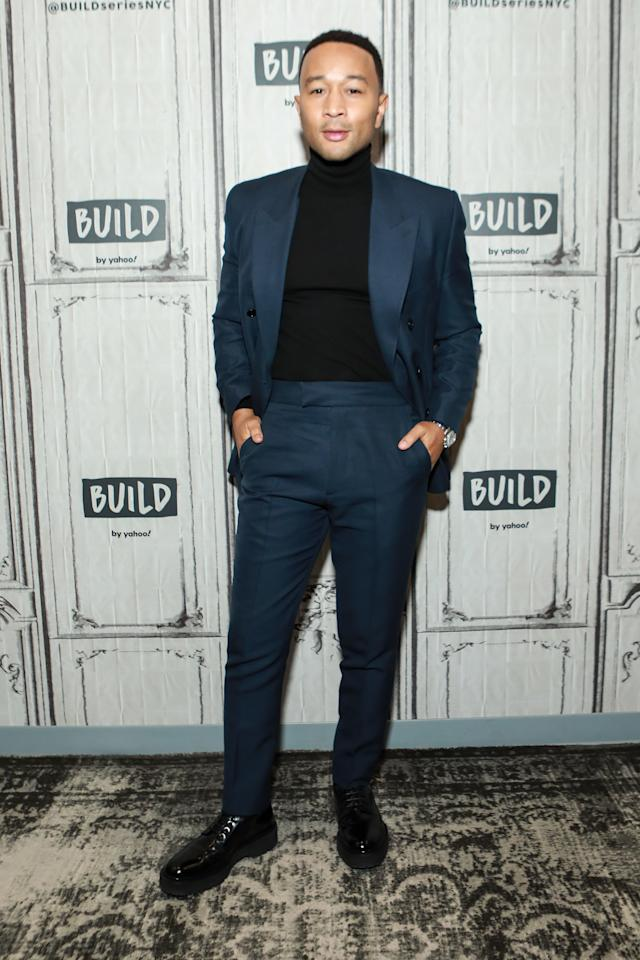 <p>WHERE: At Build Studios in New York City</p> <p>WHEN: November 21, 2019</p> <p>WHY: Enormous lapels, big old boots, a tall turtleneck: this is how you mess with proportions and still look great.</p>
