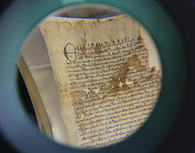 "The 719-year-old document - one of just seven in existence - was presented to the barons and port of Faversham in 1300 by Edward I to confirm the rights granted by his grandfather King John in the original ""great charter"" of 1215. (PA)"