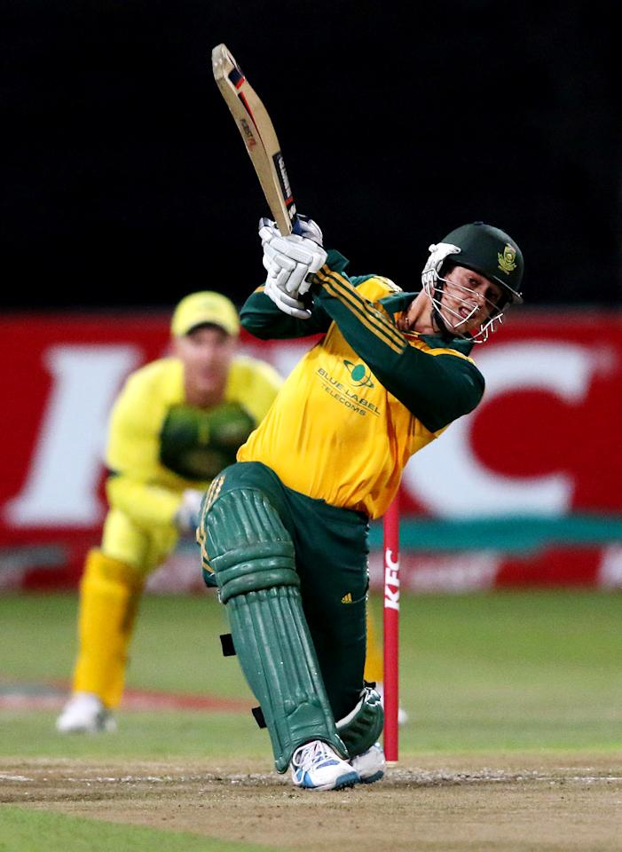 DURBAN, SOUTH AFRICA - MARCH 12:  Quinton de Kock of South Africa bats during the 2nd T20 International match between South Africa and Australia at Sahara Stadium Kingsmead on March 12, 2014 in Durban, South Africa. (Photo by Anesh Debiky/Gallo Images/Getty Images)