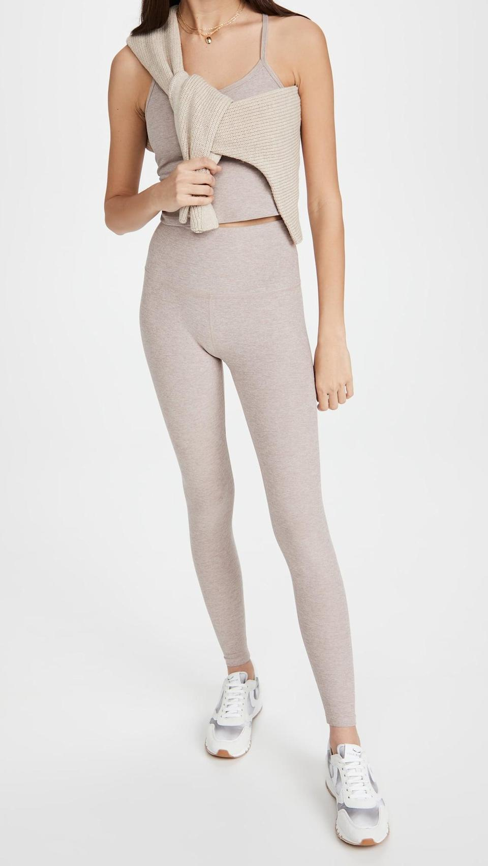 <p>This <span>Beyond Yoga Spacedye Slim Racerback Cropped Tank</span> ($66) and <span>High Waisted Midi Leggings</span> ($97) is buttery soft, and the color is so gorgeous.</p>