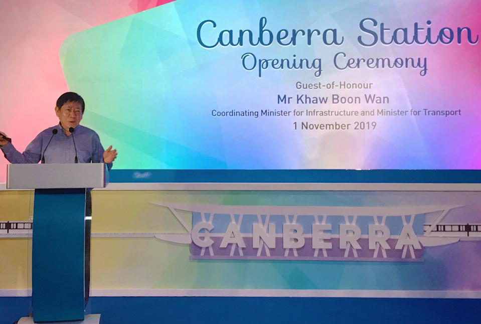 Canberra MRT station was launched on 1 November 2019 by Transport Minister Khaw Boon Wan. (PHOTO: Vernon Lee/Yahoo News Singapore)