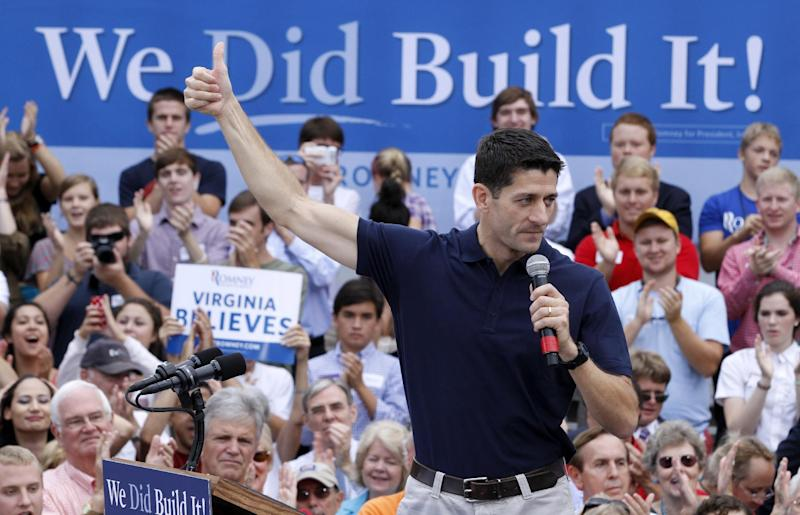 Republican vice-presidential candidate, Rep. Paul Ryan, R-Wis. gestures during a rally at a hardware store in Roanoke, Va., Wednesday, Aug. 22, 2012.  ( AP Photo/Steve Helber)