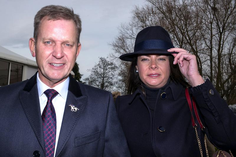 CHELTENHAM, ENGLAND - MARCH 14: Jeremy Kyle with his girlfriend and former nanny Vicky Burton attend Cheltenham racecourse on Ladies Day on March 14, 2018 in Cheltenham, England. (Photo by Alan Crowhurst/Getty Images)
