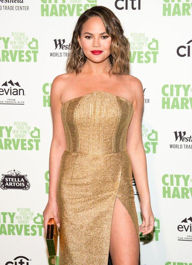 Chrissy Teigen says she needs to go in for armpit liposuction again. (Photo: Noam Galai/WireImage)