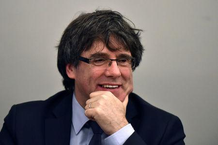 Former Catalan leader Puigdemont takes part in a meeting with his party in Brussels