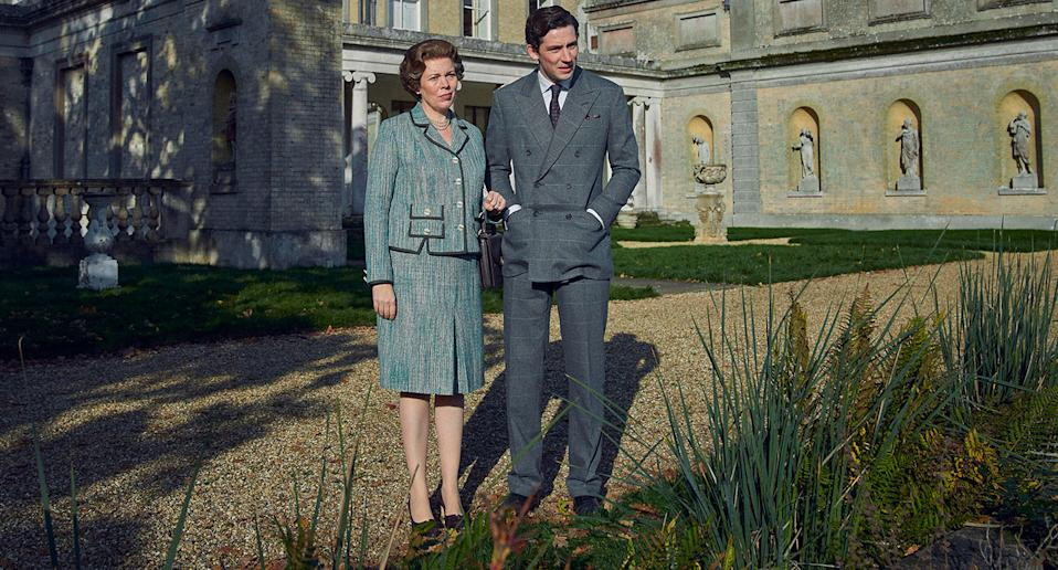 The Queen (Olivia Colman) and Prince Charles (Josh O'Connor) in The Crown S4. (Netflix)