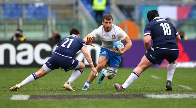 Rugby Union - Six Nations Championship - Italy vs Scotland - Stadio Olimpico, Rome, Italy - March 17, 2018 Italy's Guglielmo Palazzani in action with Scotland's Ali Price and Zander Fagerson REUTERS/Alessandro Bianchi