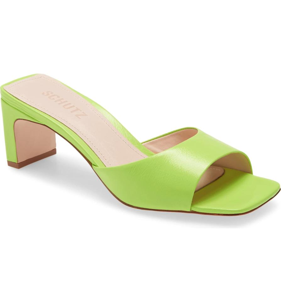 "<p><a href=""https://www.popsugar.com/buy/Schutz-Queliana-Slide-Sandals-579937?p_name=Schutz%20Queliana%20Slide%20Sandals&retailer=shop.nordstrom.com&pid=579937&price=64&evar1=fab%3Aus&evar9=47531607&evar98=https%3A%2F%2Fwww.popsugar.com%2Ffashion%2Fphoto-gallery%2F47531607%2Fimage%2F47532265%2FSchutz-Queliana-Slide-Sandals&list1=shopping%2Cnordstrom%2Csummer%20fashion%2Csale%20shopping&prop13=mobile&pdata=1"" rel=""nofollow"" data-shoppable-link=""1"" target=""_blank"" class=""ga-track"" data-ga-category=""Related"" data-ga-label=""https://shop.nordstrom.com/s/schutz-queliana-slide-sandal-women/5650909?origin=category-personalizedsort&amp;breadcrumb=Home%2FSale%2FWomen%2FNew%20Markdowns&amp;color=wild%20lime%20leather"" data-ga-action=""In-Line Links"">Schutz Queliana Slide Sandals</a> ($64, originally $160)</p>"