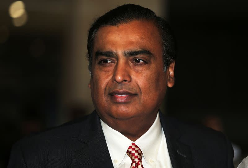 Mukesh Ambani, Chairman and Managing Director of Reliance Industries, arrives to address the company's annual general meeting in Mumbai