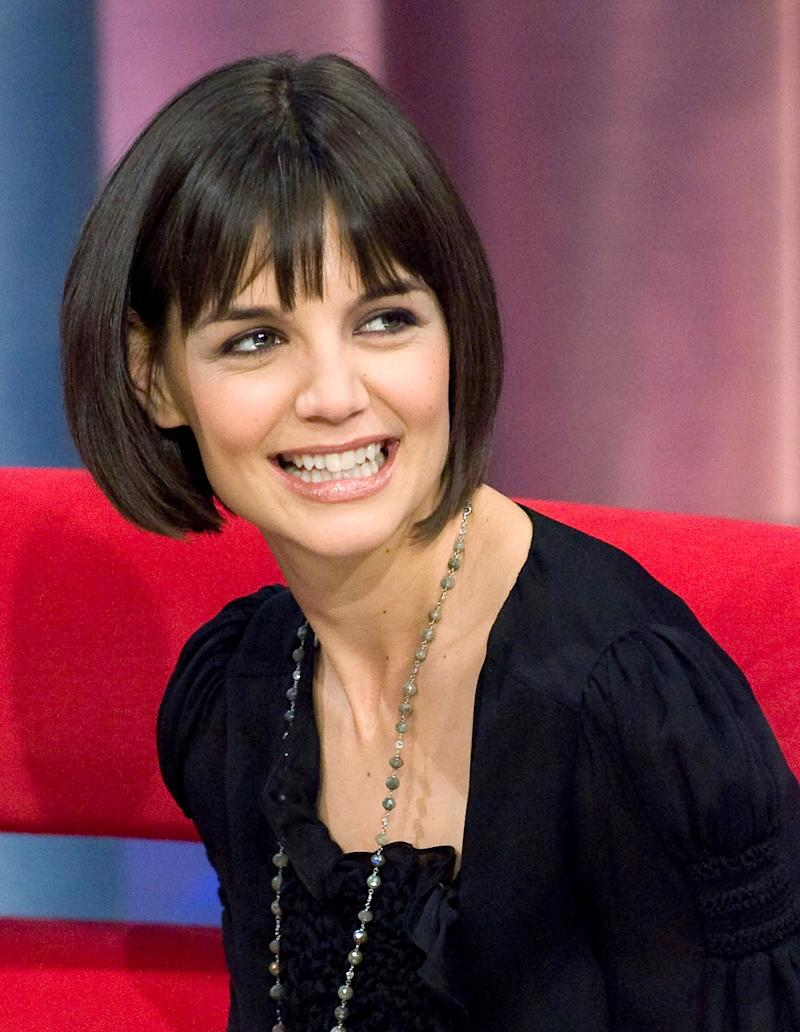 "Katie Holmes appears at a taping of the BET program ""106 and Park"" in New York Jan. 16, 2008."