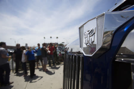 "Autobots logo of ""Autobot Optimus Prime"" truck from the movie ""Transformers: Age of Extinction"" is pictured during a pick-up in Los Angeles"