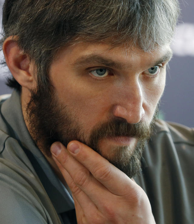 Washington Capitals left wing Alex Ovechkin listens to a question during an NHL hockey media day for the Stanley Cup, Sunday, May 27, 2018, in Las Vegas. (AP Photo/John Locher)