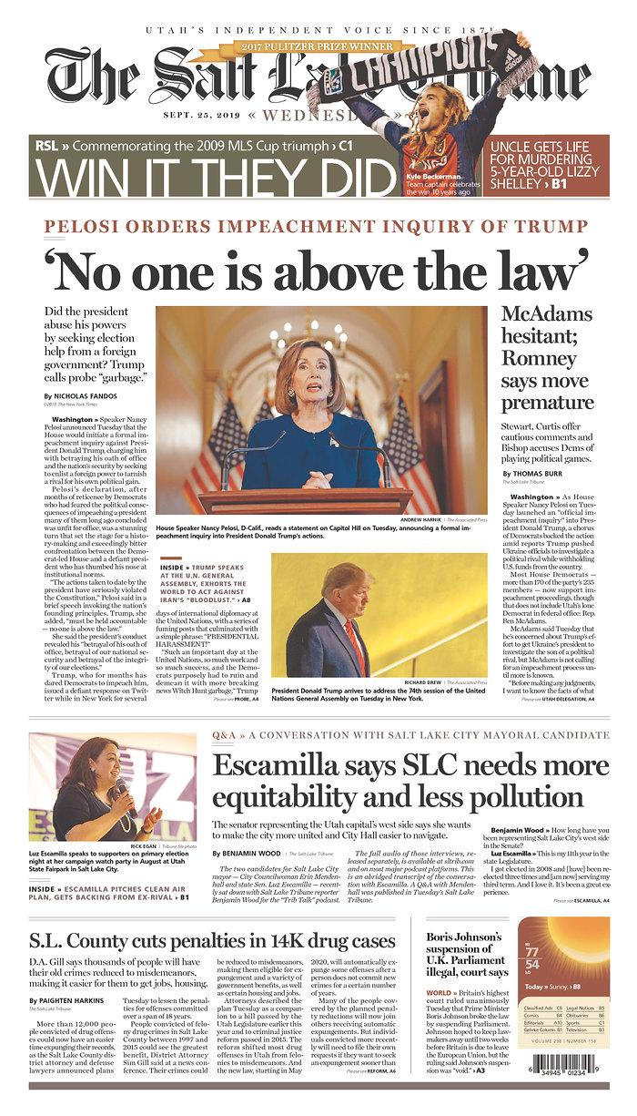 """""""No One Is Above The Law"""" The Salt Lake Tribune Published in Salt Lake City, Utah USA. (newseum.org)"""
