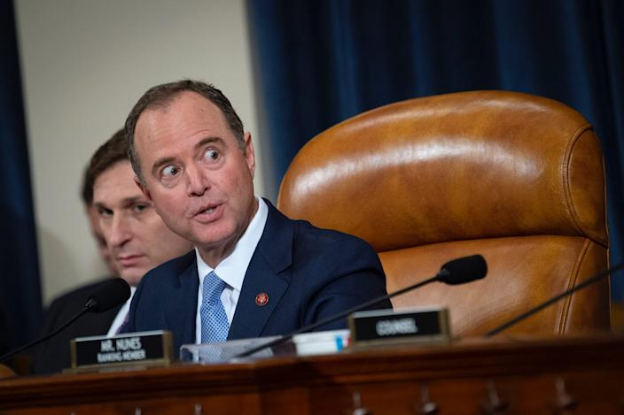 Rep. Adam Schiff, D-Calif., ranking member of the House Intelligence Committee, speaks during the House Select Intelligence Committee hearing on the impeachment inquiry into President Donald Trump with former U.S. Ambassador to Ukraine Marie Yovanovitch on Friday Nov. 15, 2019.