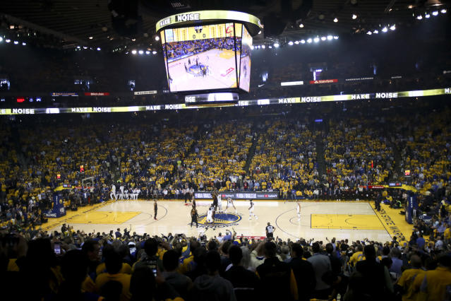 Fans will be able to pay $100 a month to enter Oracle Arena, but that won't include a view of the court. (AP Photo/Ben Margot)