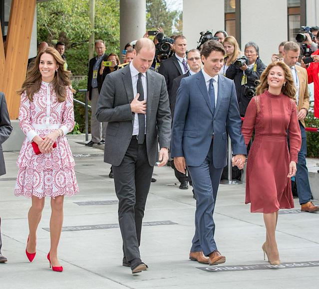 Canadian Prime Minister Justin Trudeau and his wife, Sophie, visit British Columbia with Prince William and Kate Middleton on their 2016 tour of Canada <em>.</em> (Photo: Getty Images)