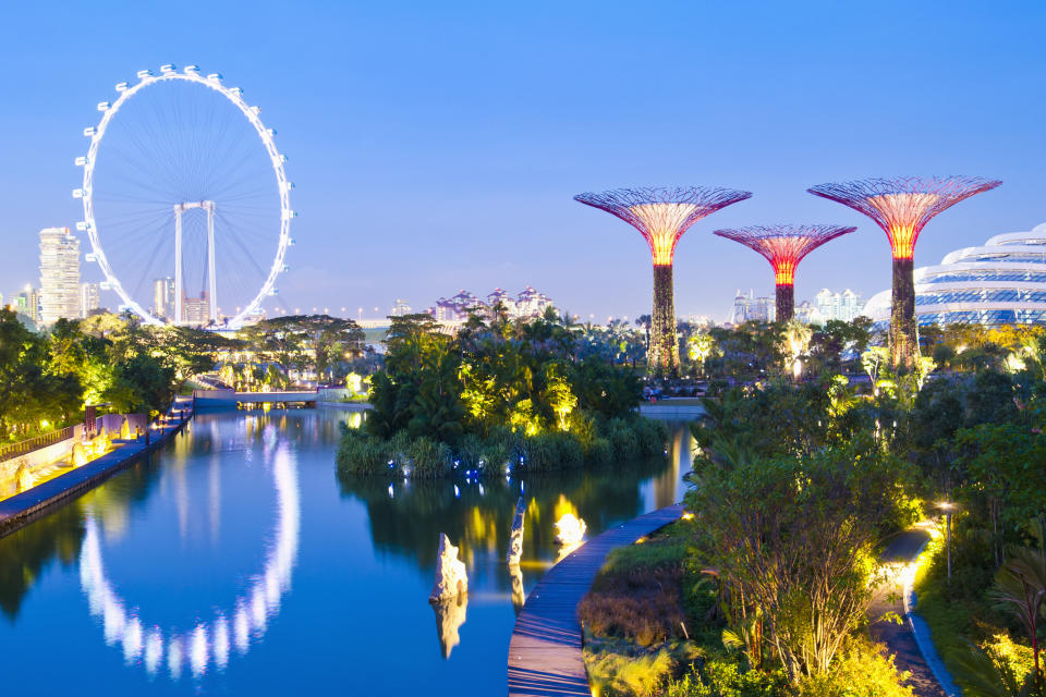 The Singapore Flyer is a giant Ferris wheel located in Singapore, constructed in 2005–2008. Gardens by the Bay is a park spanning 101 hectares (250 acres) of reclaimed land in central Singapore, adjacent to the Marina Reservoir. The park consists of three waterfront gardens: Bay South Garden, Bay East Garden and Bay Central Garden.