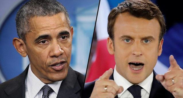 Barack Obama and French presidential candidate Emmanuel Macron.