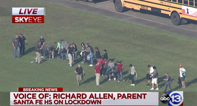 <p>Screengrab of scene of a shooting at Santa Fe High School in Santa Fe, Texas, May 18, 2018 (Video still: KTRK-TV ABC13) </p>