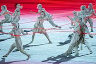 <p>Dancers performed during the opening ceremony in another segment meant to represent the pandemic.</p>