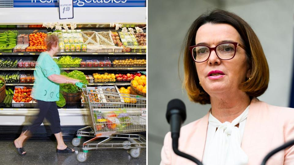 Pictured: Pensioner in grocery store, Australian Social Services Minister Anne Ruston. Images: Getty