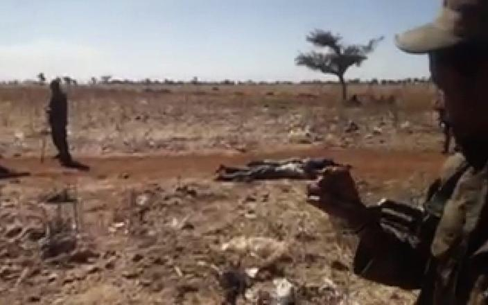 Ethiopian soldiers walk among the corpses. - The Telegraph / screengrab