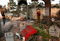<p>A woman's home was destroyed in a Southern California fire, but her Halloween decorations remained standing. </p>