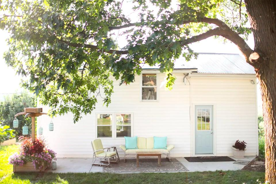 """<h2>Cider House Orchard Stay</h2>This romantic getaway is located in an apple orchard where, if it's the right season, you can <a href=""""https://www.refinery29.com/en-us/best-airbnb-apple-orchard-rentals"""" rel=""""nofollow noopener"""" target=""""_blank"""" data-ylk=""""slk:pick your own apples"""" class=""""link rapid-noclick-resp"""">pick your own apples</a> and peaches. Be sure to hit up the complimentary cider tasting for two at the on-premise Old Hill Hard Cider tasting room too — or just take your haul back to your place and dream about all the pies you'll make.<br><br><strong>Location: </strong>Timberville, VA<br><strong>Sleeps: </strong>2<br><strong>Price Per Night: </strong>$100<br><br><strong><a href=""""https://www.airbnb.com/rooms/25103590"""" rel=""""nofollow noopener"""" target=""""_blank"""" data-ylk=""""slk:Book here"""" class=""""link rapid-noclick-resp"""">Book here</a></strong><span class=""""copyright"""">Photo: Courtesy of Airbnb.</span>"""