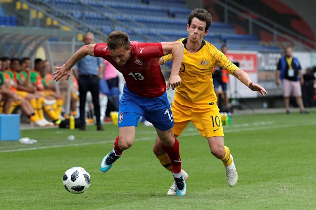Soccer Football - International Friendly - Czech Republic v Australia - NV Arena, Sankt Polten, Austria - June 1, 2018 Czech Republic's Jan Kopic in action with Australia's Robbie Kruse REUTERS/Heinz-Peter Bader