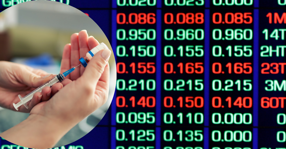 Hands holding needle and vaccine bottle on background of the ASX