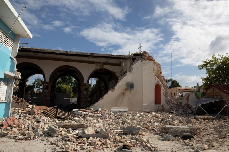 A general view of a damaged church after the earthquake in Guayanilla