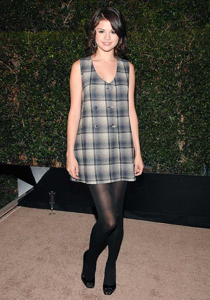 """Tween queen Selena Gomez is cute in an age-appropriate mini and tights. Jean-Paul Aussenard/<a href=""""http://www.wireimage.com"""" target=""""new"""">WireImage.com</a> - October 12, 2008"""