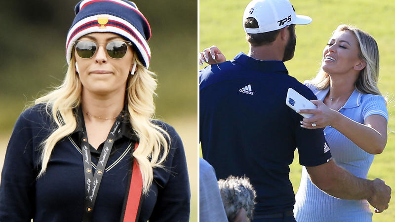 Paulina Gretzky and Dustin Johnson, pictured here on the golf course.