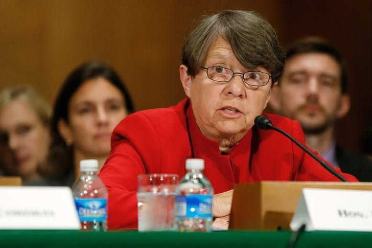 U.S. Securities and Exchange Commission Chair White testifies about Wall Street reform before a Senate Banking Committee hearing on Capitol Hill in Washington