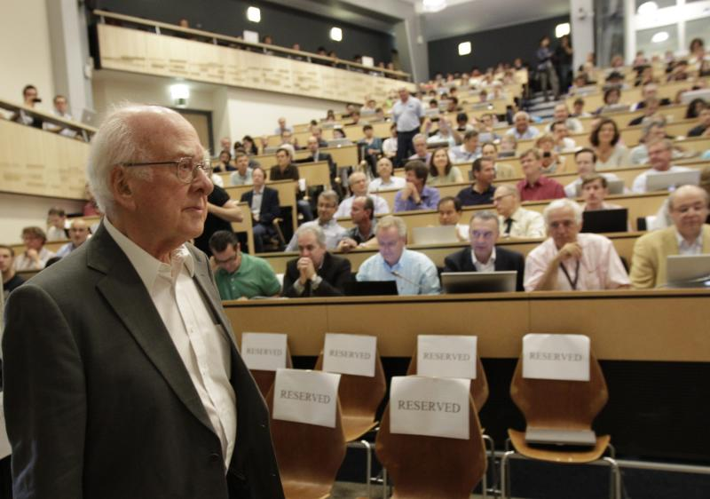 "British physicist Peter Higgs arrives for a scientific seminar to deliver the latest update in the search for the Higgs boson at the European Organization for Nuclear Research (CERN) in Meyrin near Geneva, Switzerland, Wednesday, July 4, 2012.The head of the world's biggest atom smasher is claiming discovery of a new particle that he says is consistent with the long-sought Higgs boson known popularly as the ""God particle.""  Rolf Heuer, director of the European Center for Nuclear Research, or CERN, says ""we have a discovery"" of a new subatomic particle, a boson, that is ""consistent with a Higgs boson.""  He spoke after two independent teams at CERN said they have both ""observed"" a new boson that looks just like the one believed to give all matter in the universe size and shape.  (AP Photo/Denis Balibouse, Pool)"