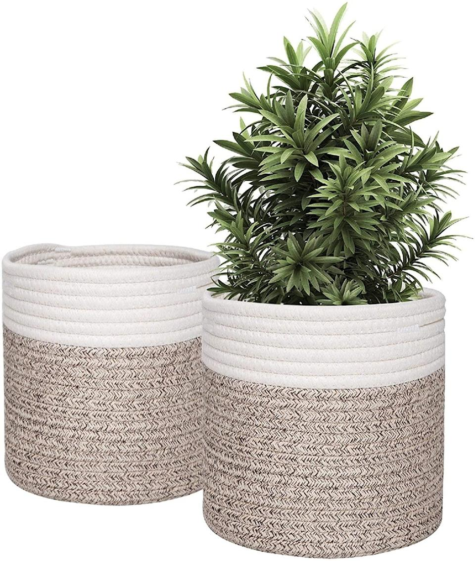 <p>Add a natural element to your decor with this <span>Woven Basket Planter</span> ($14 for two). It will brighten up a space with it's cozy vibe. You can even use these as storage baskets. </p>