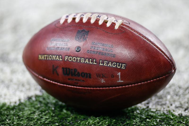 DETROIT, MI - NOVEMBER 23: A general view of one of the game footballs sitting on the turf during game action between the Minnesota Vikings and the Detroit Lions on November 23, 2017 at Ford Field in Detroit, Michigan. (Photo by Scott W. Grau/Icon Sportswire via Getty Images)