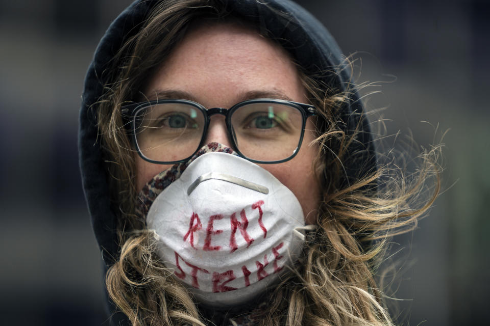 Minneapolis, MN April 8: Tenant right advocates including Karissa Stotts organized a honking, vehicle protest around the US Bank building. (Photo by Richard Tsong-Taatarii/Star Tribune via Getty Images)