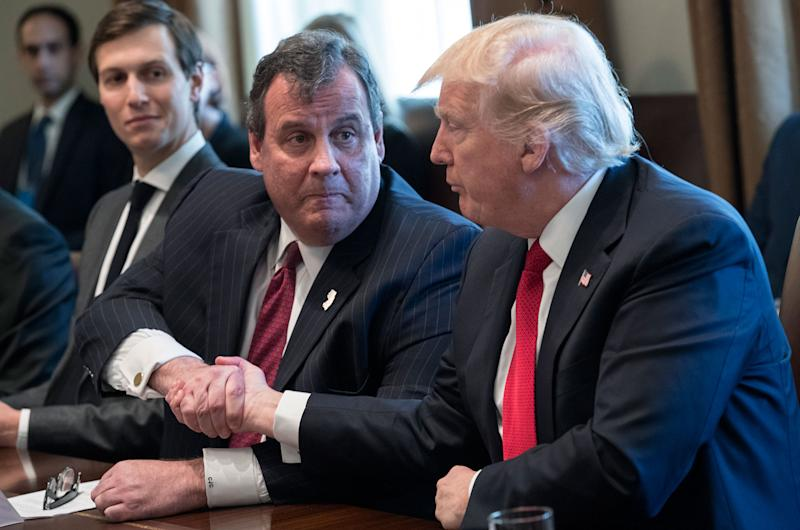 President Donald Trump (L) shakes hands with New Jersey Gov. Chris Christie at a panel discussion on an opioid and drug abuse in the Roosevelt Room of the White House March 29, 2017 in Washington, DC. (Photo: Shawn Thew-Pool/Getty Images)
